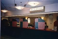 Before its renovation, the Longworth branch featured simulated windows behind the teller line.
